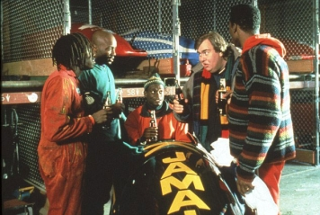 The cast of Cool Runnings, the feature film about the 1988 Jamaican Olympic bobsleigh team.