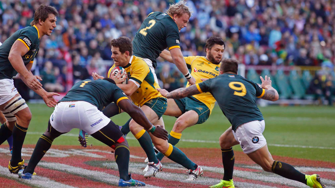 The Springboks (South Africa) stop the Wallabies (Australia) in Cape Town.