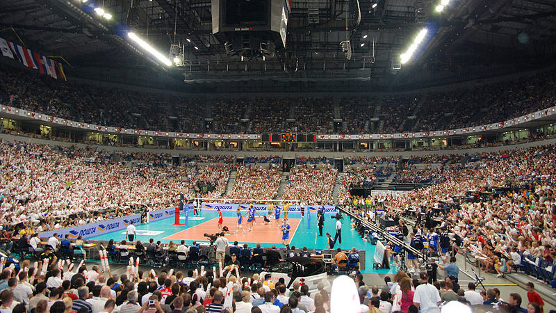 Serbia hosted Brazil in the 2009 FIVB World League finals. It's common to see indoor arenas with 20,000 or more spectators packed in for volleyball in Europe.