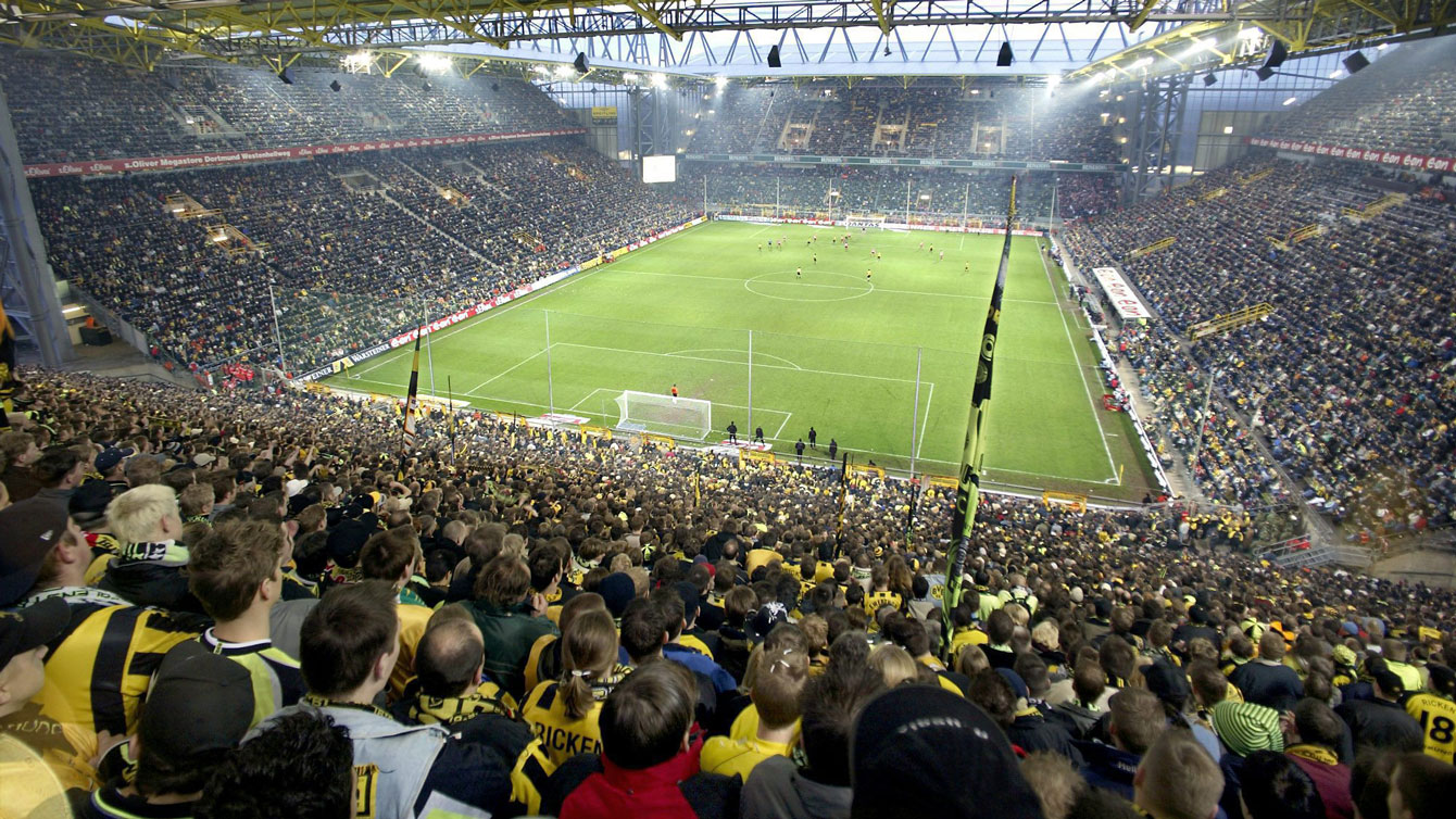 Westfalenstadion in Dortmund shown in a 2002 file photo. This venue has lately become a place of pilgrimage for football fans across Europe.