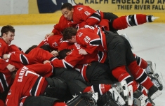 Anthony Stewart (12) lands on the top of the pile as the team celebrates their gold medal victory over Russia (Photo: CP)