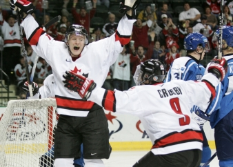 Corey Perry celebrates a goal during the 2005 World Juniors (Photo: CP)