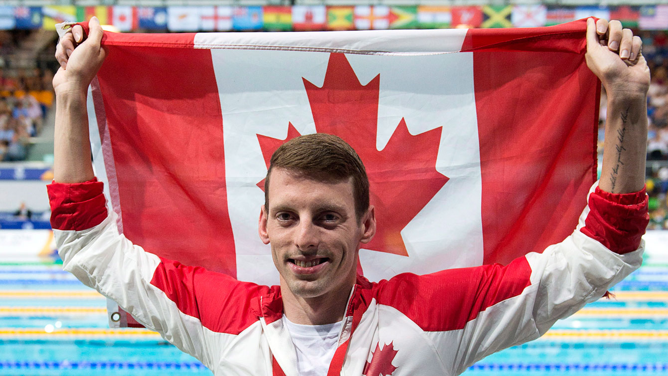 Ryan Cochrane following 400m freestyle victory & national record at Glasgow 2014 Pan Am Games.