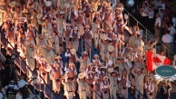 Overhead shot of Canadian athletes walking in opening ceremony