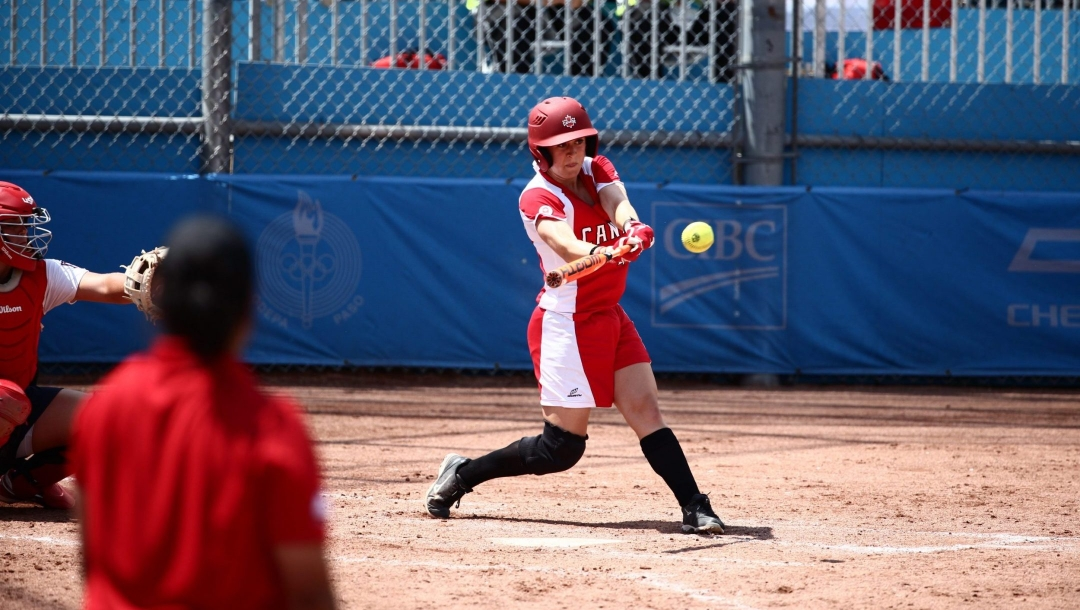 Team Canada's Erika Polidori at bat during the bottom of the 8th inning at the Toronto Pan Am Games in 2015