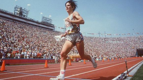 Joan Benoit wins the first women's Olympic marathon (photo: chicagotribune.com).