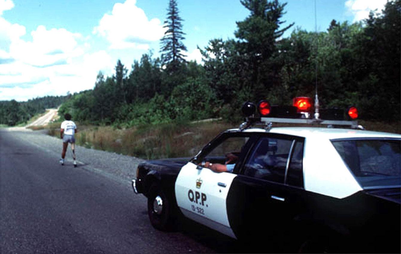 Terry Fox during his journey through Ontario, where he eventually had to stop near Thunder Bay.
