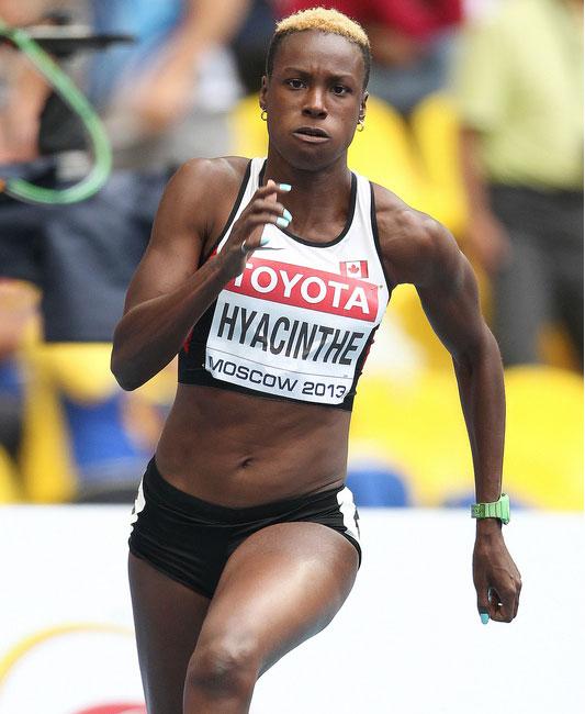 Kimberly Hyacinthe powers through at Moscow 2013. Photo via Athletics Canada.
