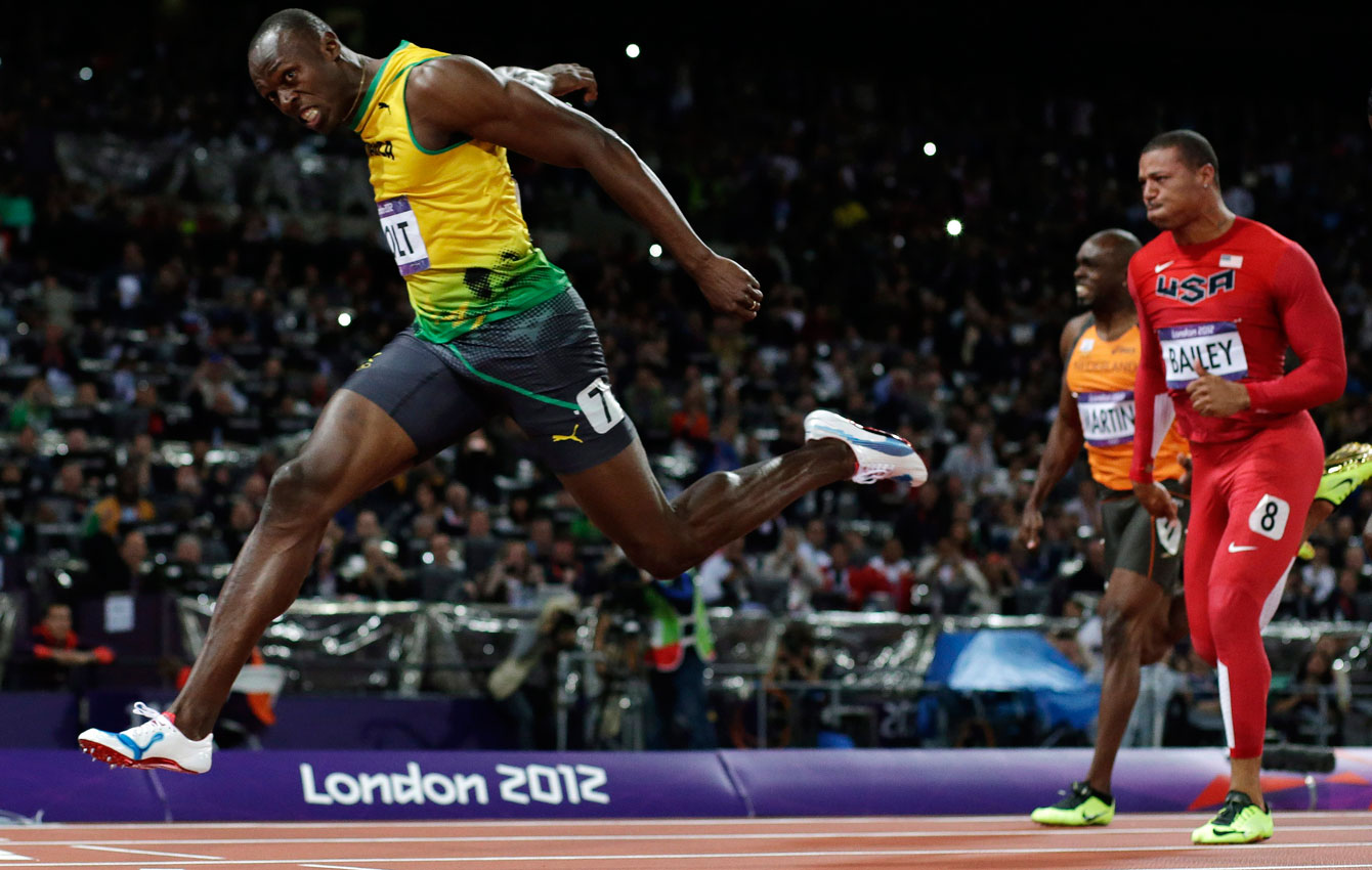 Usain Bolt crosses the finish line at London 2012 in the 100m.