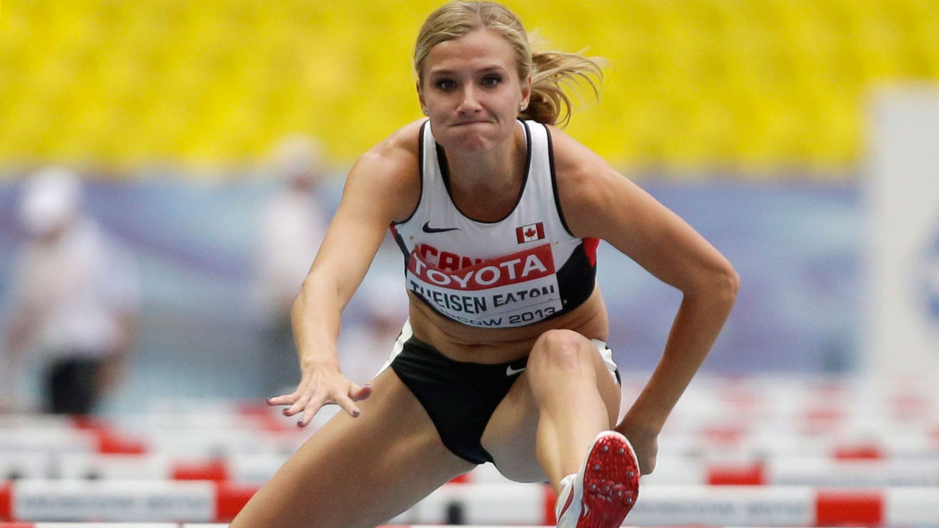Brianne Theisen-Eaton in the 100m hurdles of the heptathlon at Moscow 2013 IAAF worlds.