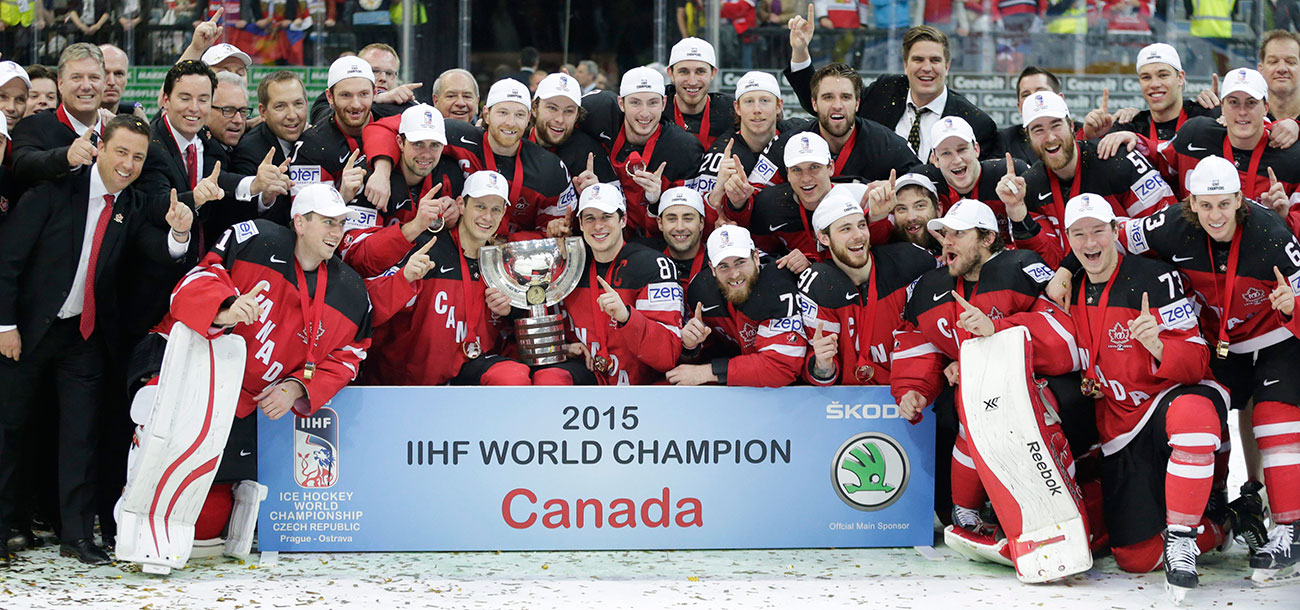 Canadian men accept the trophy at the 2015 IIHF World Championship.