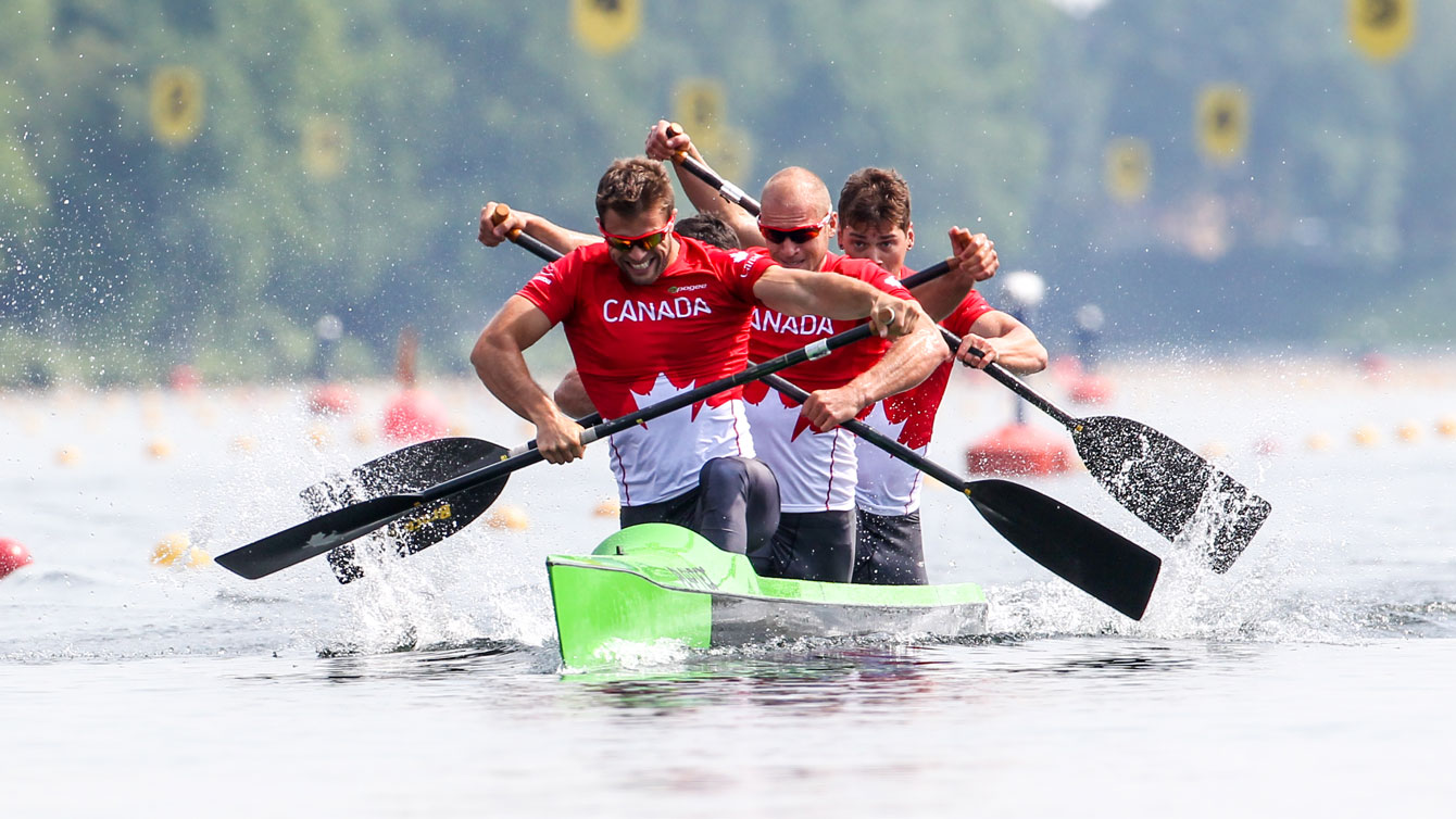Canada paddled to a gold in the non-Olympic men's K4 200m race at the World Cup event in Duisburg, Germany on May 24, 2015 (Photo: Balint Vekassy).