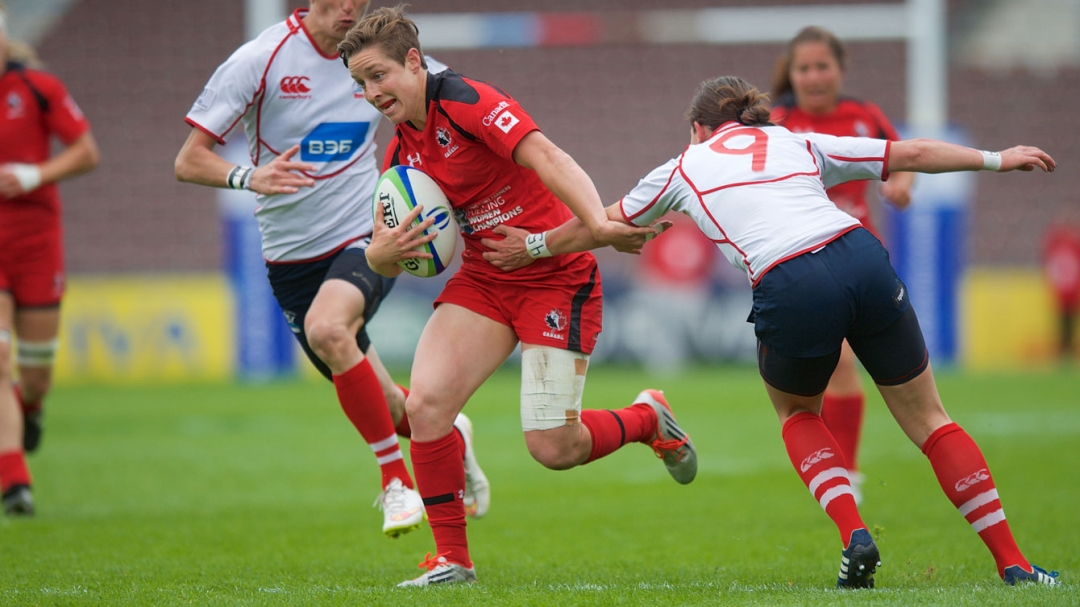 Ghislaine Landry at the 2015 London Sevens during a game