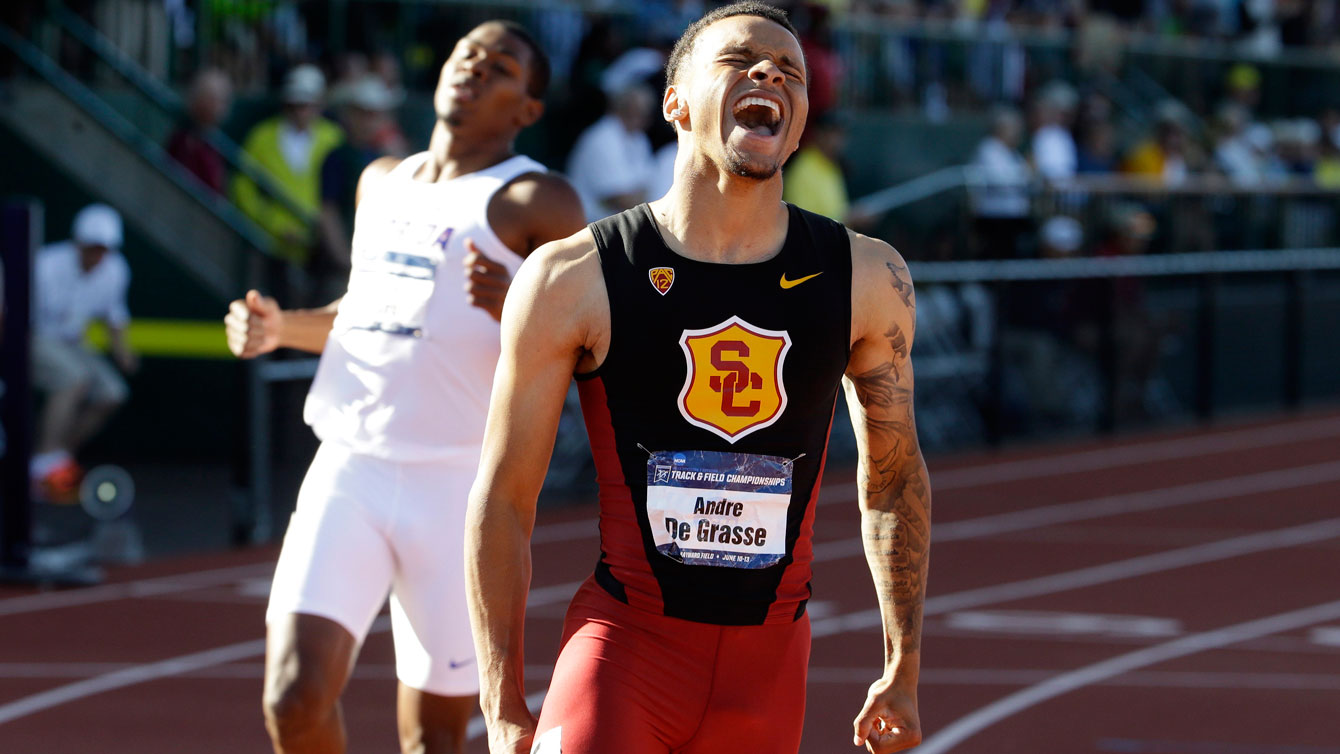 Andre De Grasse wins the NCAA 200m title in a wind-aided 19.58 seconds in Eugene, Oregon on June 12, 2015 (Photo: AP/Don Ryan).