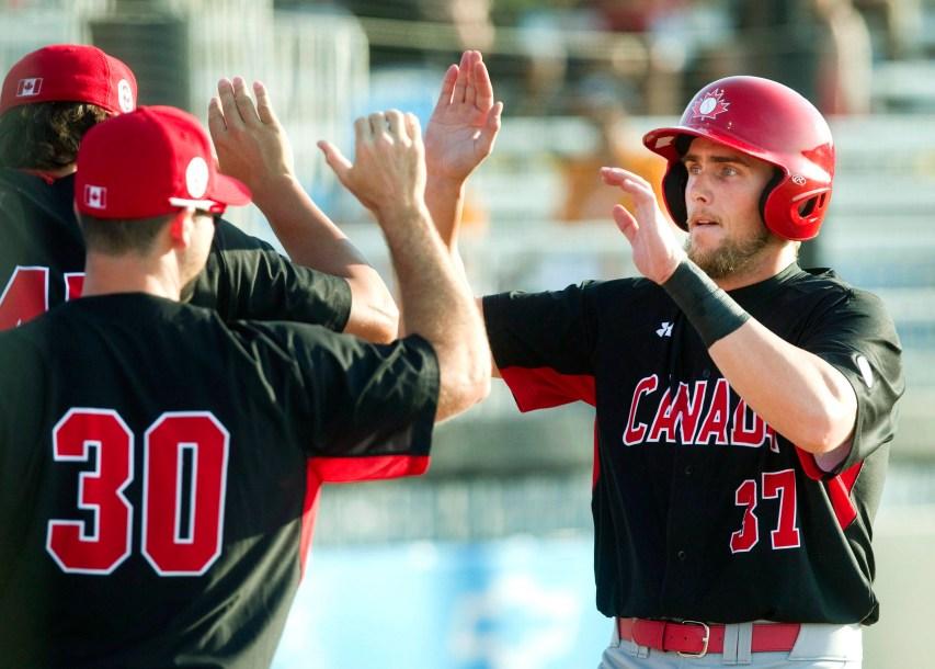 Jordan Lennerton high fives teammates