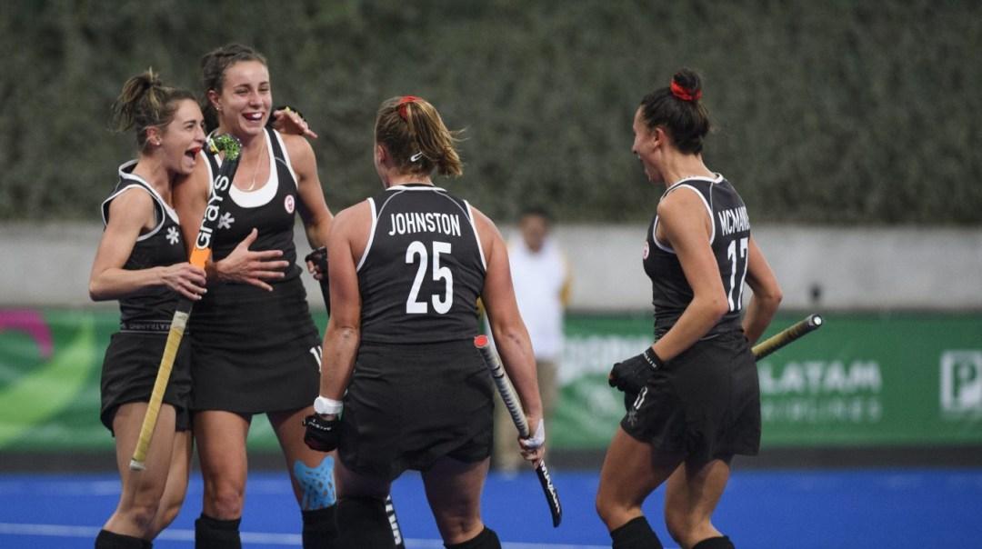 Karli Johansen of Canada celebrates with teammates