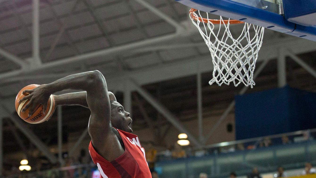 Anthony Bennett led Canada in scoring in the first half of the men's basketball gold medal match vs Brazil.