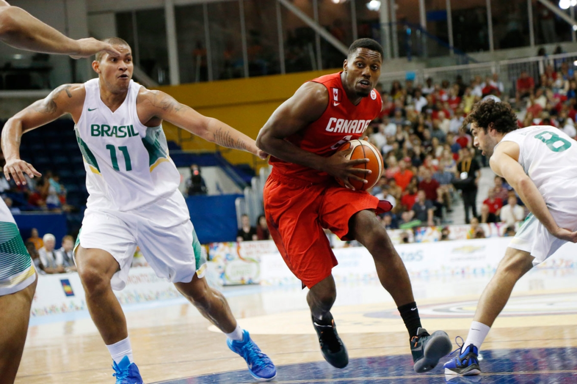 Canada's men took on Brazil in the TO2015 basketball final on Day 15.