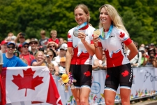 Emily Batty and Catharine Pendrel with their medals