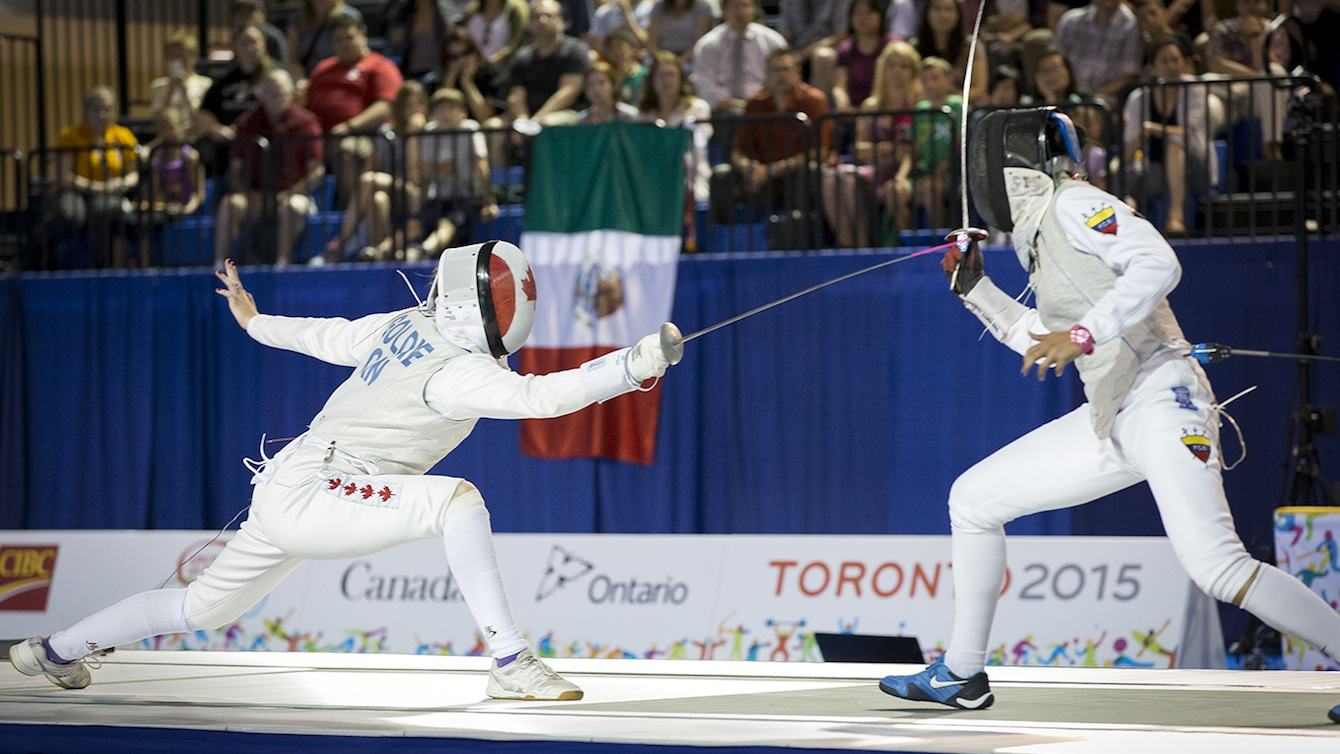 Alanna Goldie, Canada, fences Saskia Loretta Van Erven Garcia in the semi-final match at in the Women's Foil event at the Pan-Am Games in Toronto Ontario.  Goldie lost the bout and took home the bronze medal.