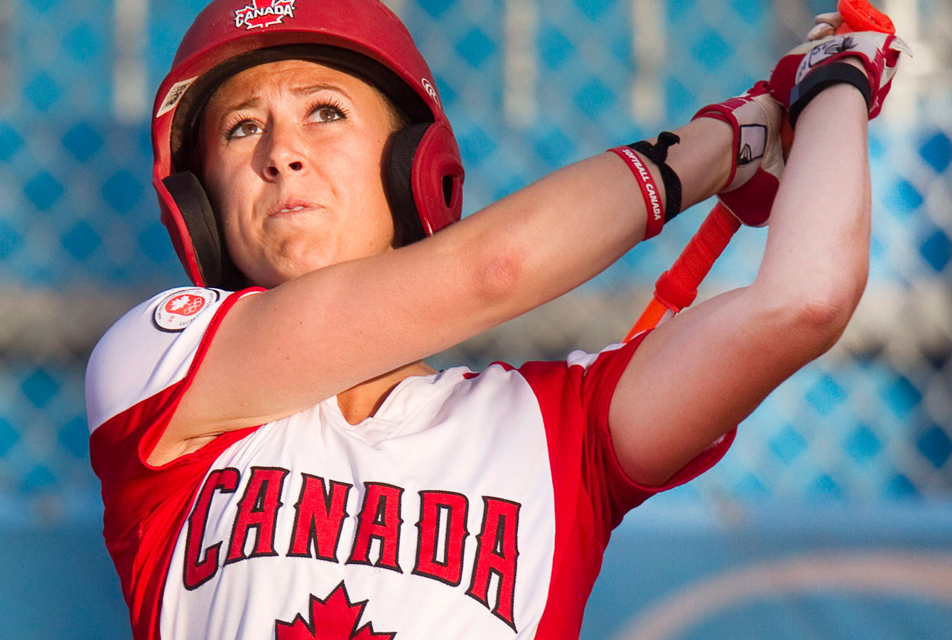 Canada's Erika Polidori hits a ball to left field to drive in a run at TO2015