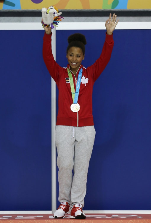 TORONTO, ON - JULY 12:  Jennifer Abel of Canada wins Gold in the Women's 3m Springboard Final during the Toronto 2015 Pan Am Games at the CIBC Aquatic Centre on July 12, 2015 in Toronto, Ontario, Canada.  (Photo by Vaughn Ridley/Canada Diving)