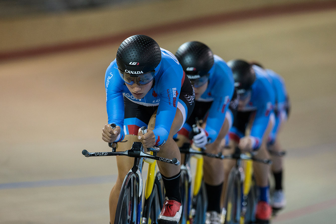 Jasmin Glaesser (Olympian, cycling) leads women's team pursuit demonstration at the Milton Velodrome on June 1, 2015.