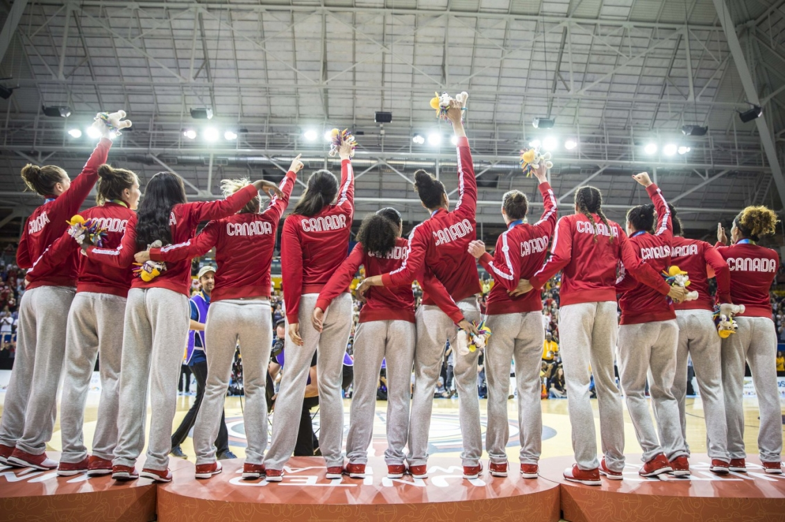 Canada's women's basketball team moments after receiving their gold medals (COC photo by David Jackson).