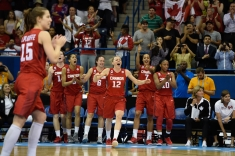 Canadian players celebrate a basket against USA at the Pan Am Games on July 20, 2015.