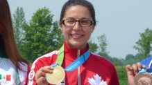 Lynda Kiejko wears her gold medal