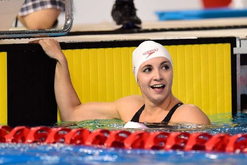Canada's Audrey Lacroix reacts to her 200m butterfly win at TO2015.