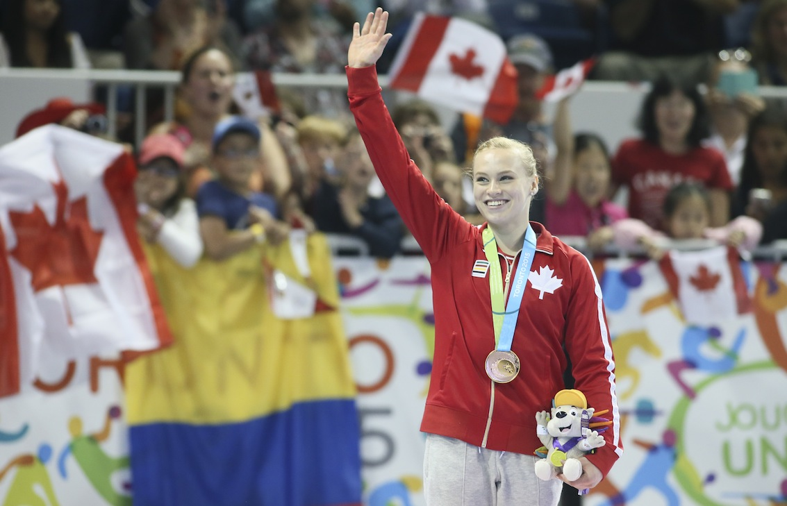 Ellie Black of Halifax celebrates her gold medal in floor exercise in artistic gymnastics competition at the Pan American Games.