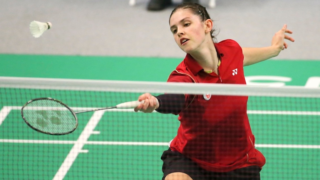 Rachel Honderich of Toronto plays to the silver medal in singles badminton finals