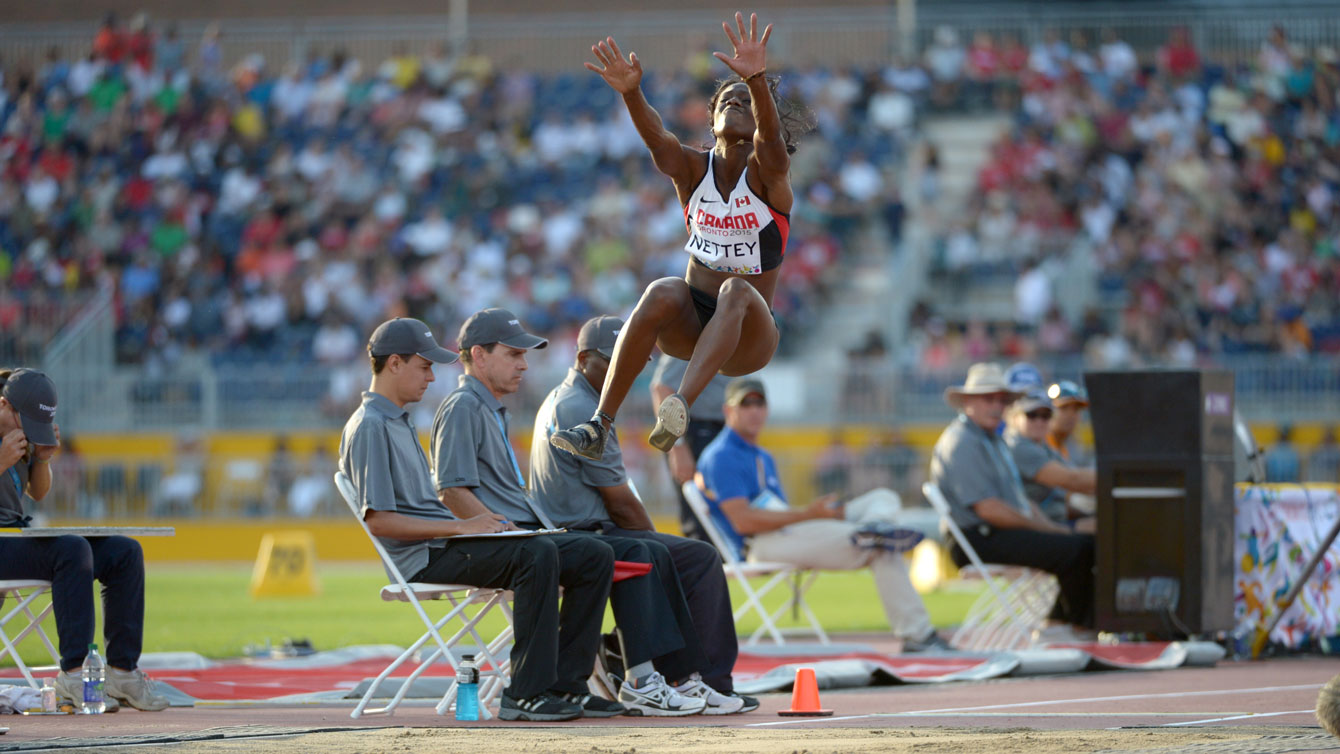 Christabel Nettey takes off at the Toronto 2015 Pan American Games in the long jump on July 24, 2015.