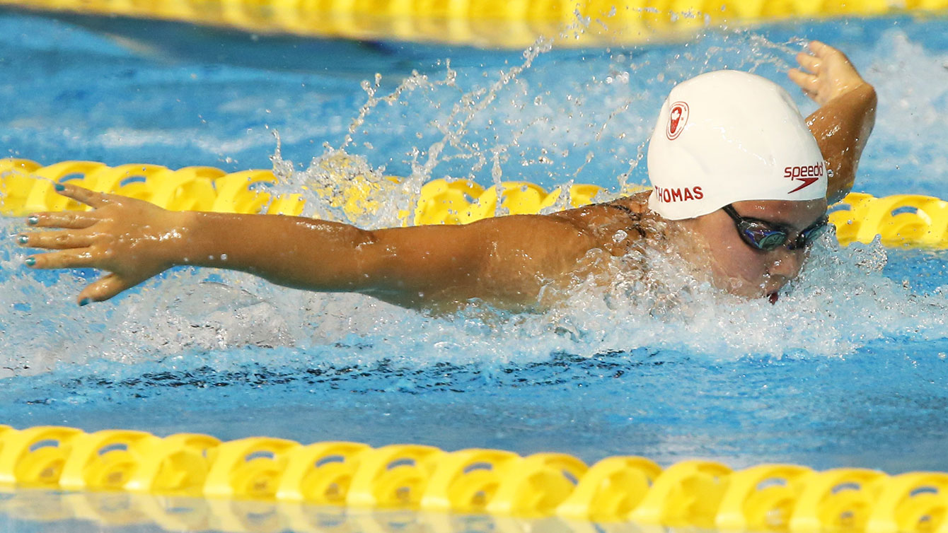 Noemie Thomas during the 100m butterfly final at PAn Am Games.