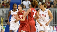 Kia Nurse celebrates two of her 33 points against USA at the Pan Am Games on July 20, 2015.
