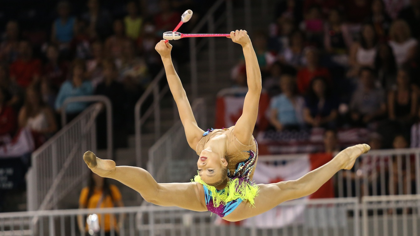 Patricia Bezzoubenko competes in the rhythmic gymnastics clubs competition at the 2015 Pan American Games in Toronto.