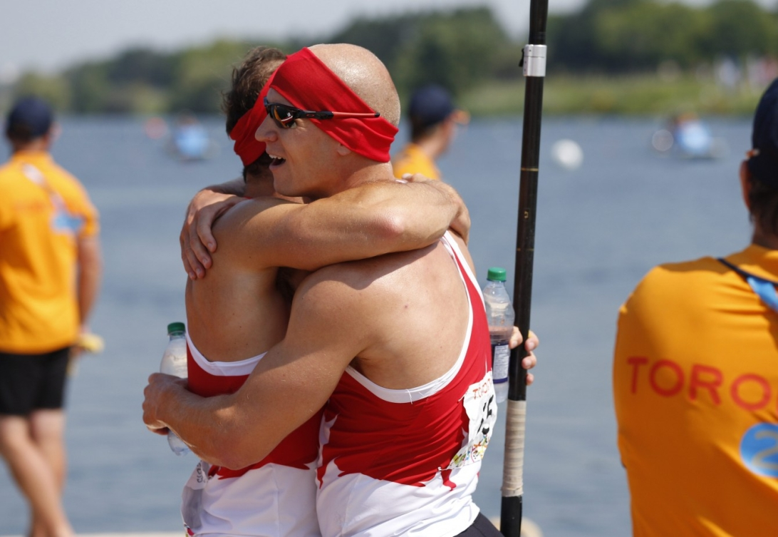 Canada's celebrates winning the C2 1000m at the Pan Am Games in Toronto Monday, July 13, 2015.  COC Photo by Michael P. Hall