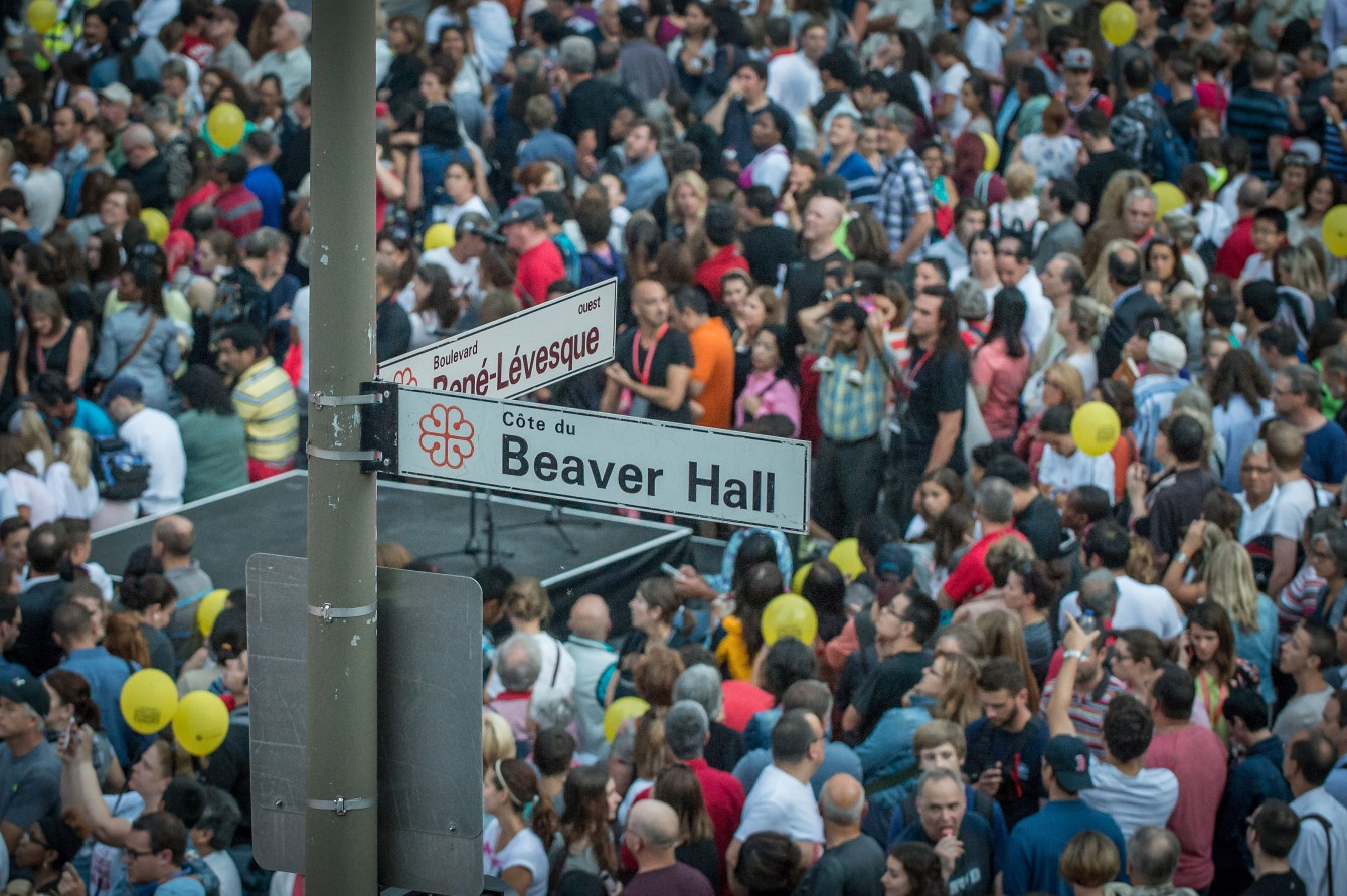 Crowds gather at the street celebration for Canada Olympic Excellence Day on July 9, 2015 in Montreal.