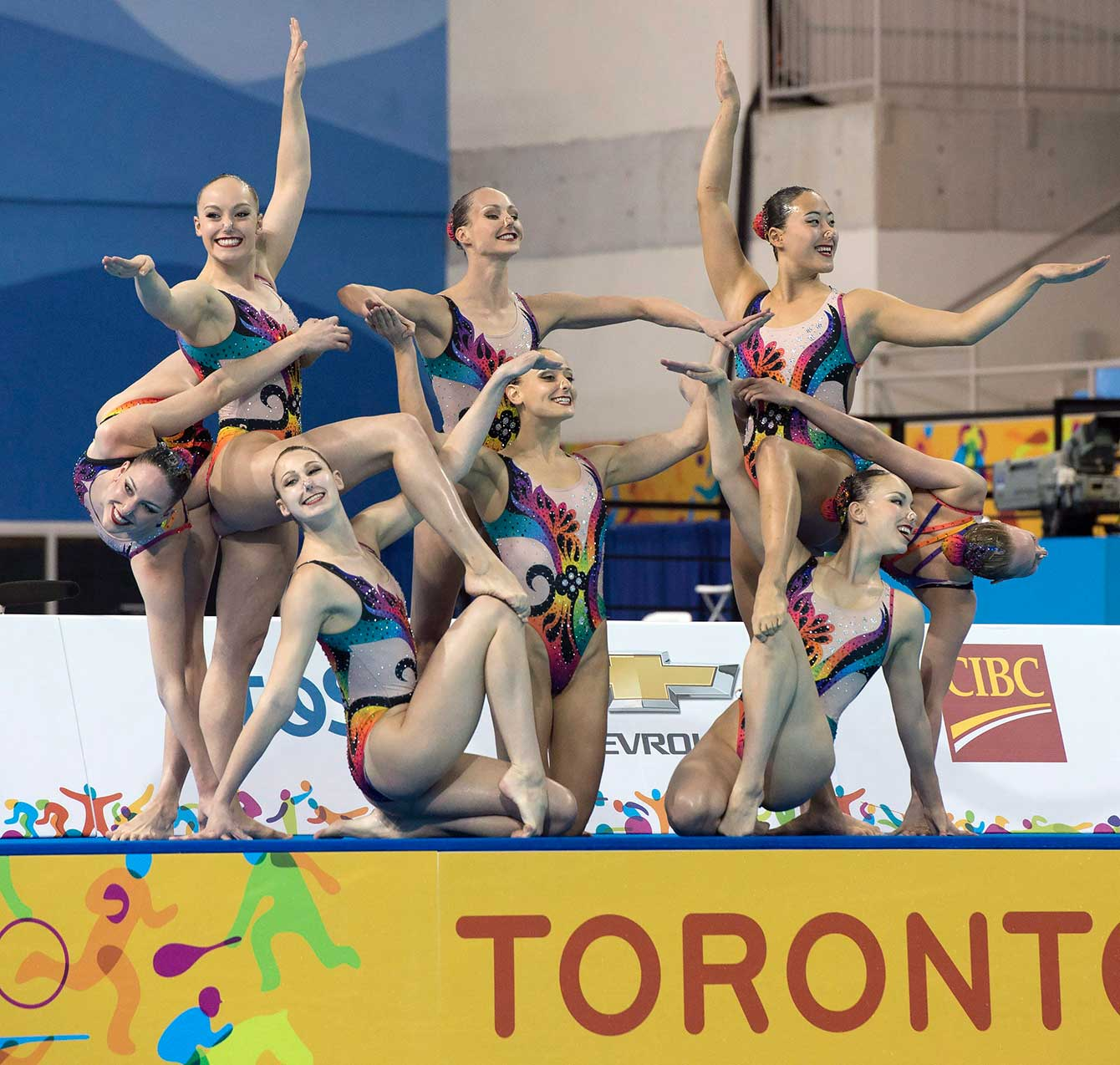 Team Canada perform their winning free routine in the Synchronized Swimming Team event at the Pan Am Games on Saturday July 11, 2015.
