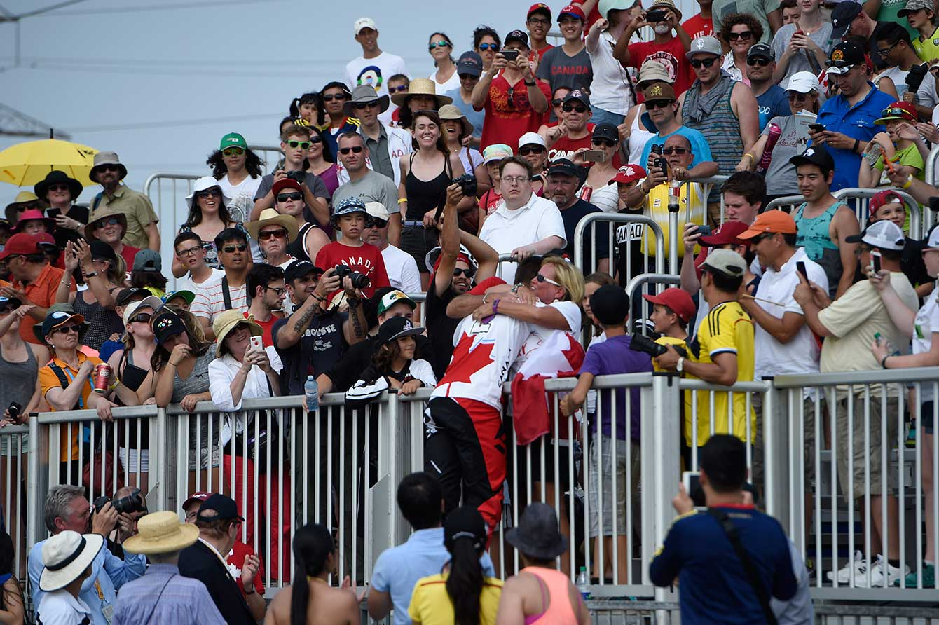 Tory Nyhaug celebrates his gold medal win in men's BMX.
