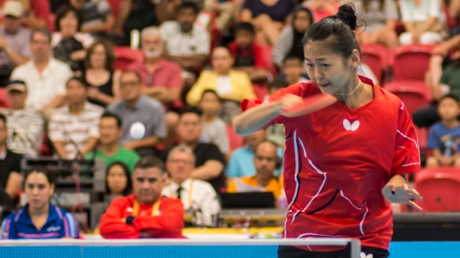 Mo Zhang returns a serve in the game against Chile July 20, 2015. The Canadian women's team goes on to win bronze.