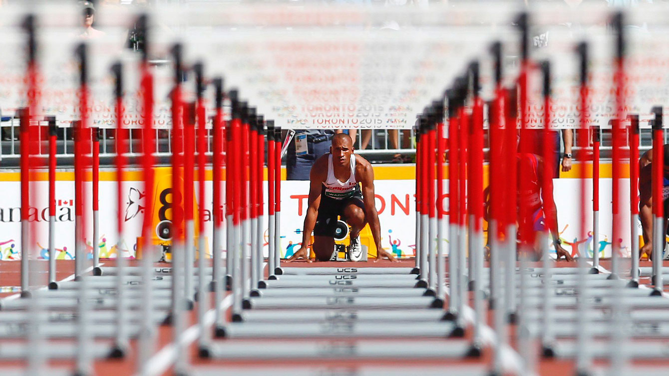 Damian Warner preparing for the 110m hurdles as part of the decathlon on July 23, 2015 in Toronto at the Pan Am Games.