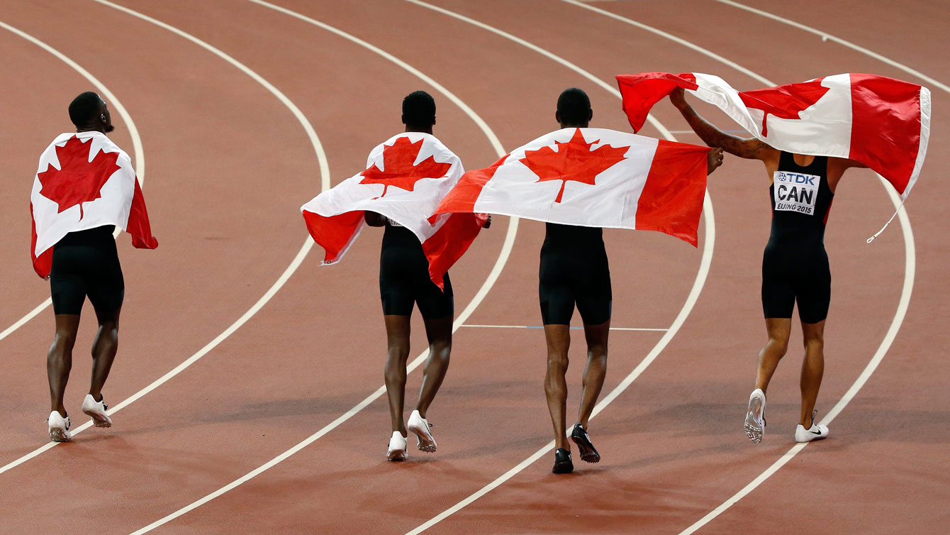 Canadians of the men's 4x100m relay after being awarded the bronze at the world championships in Beijing on August 29, 2015.