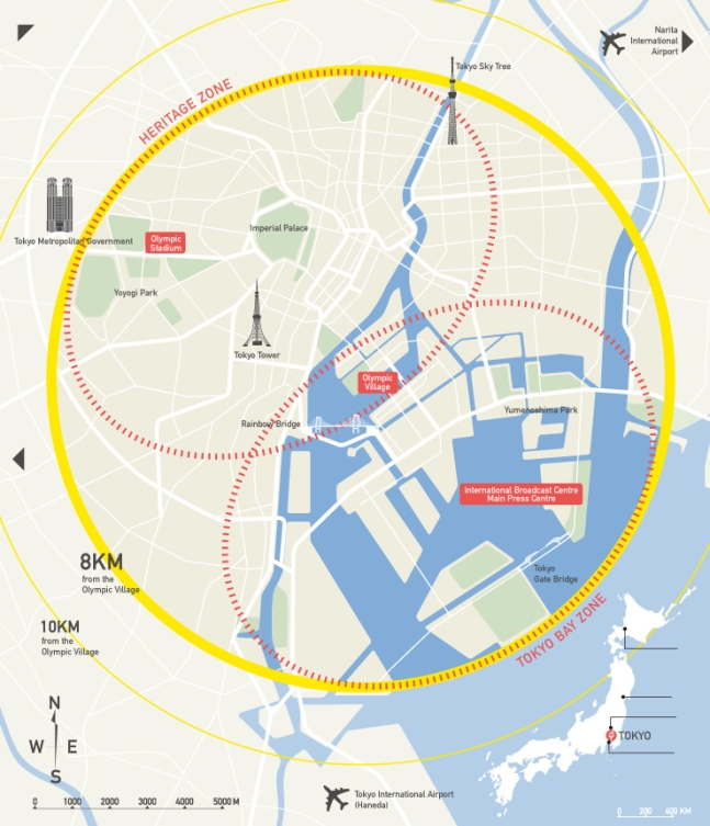 map of Olympic venues in Tokyo
