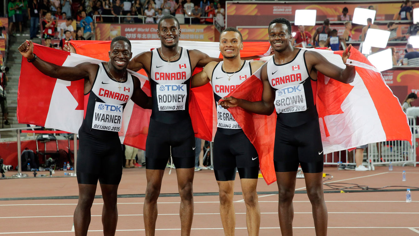 Canada after being named the bronze medallists in men's 4x100m relay at the world championships in Beijing on August 29, 2015.