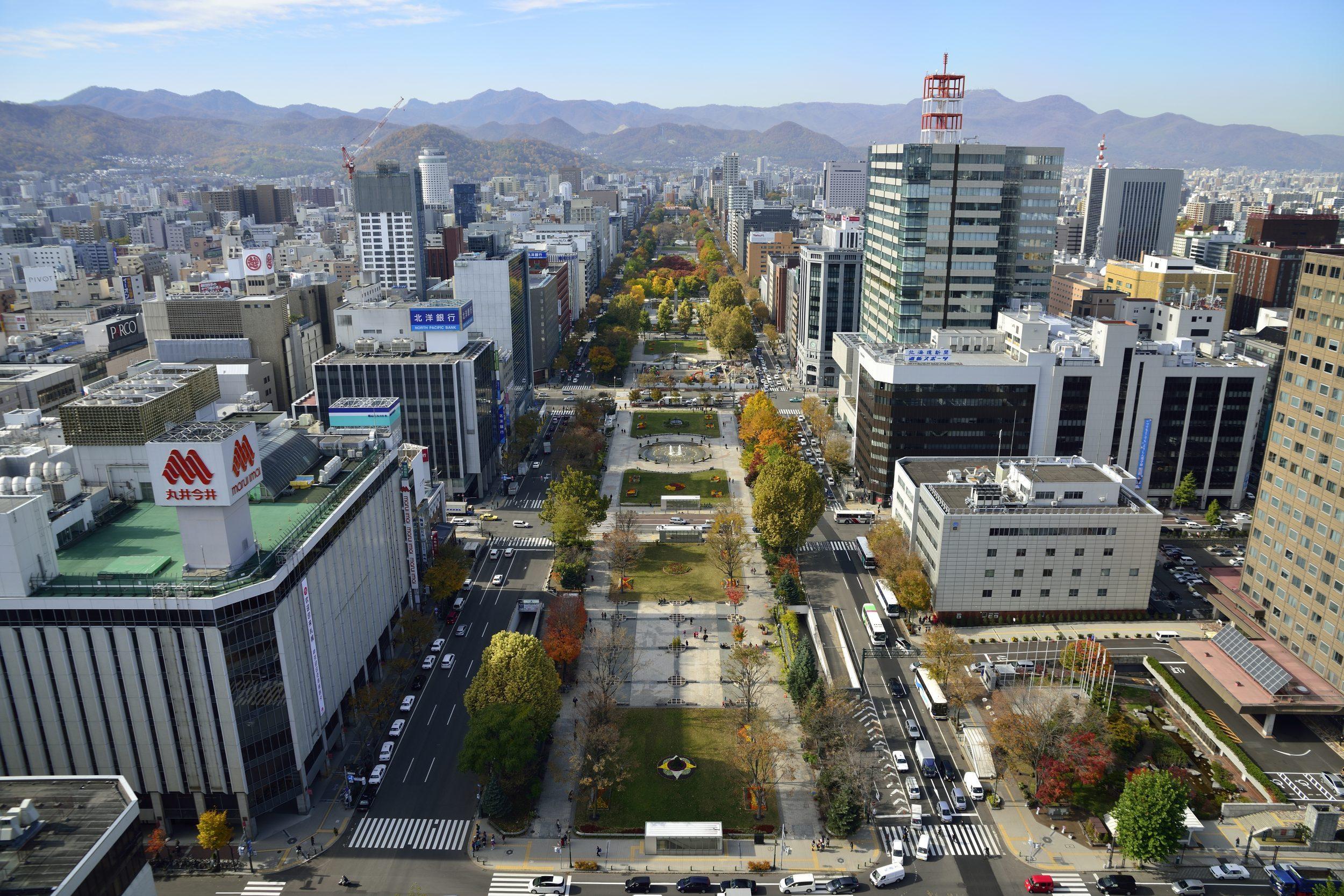 Aerial scenic of Sapporo Odori Park