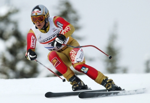 Spence early in his career, at a World Cup downhill in Lake Louise.