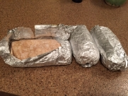 Sweet potato, tofu and tempeh burritos which were frozen for travel and will last a few days in the hotel fridge to serve as dinner while in Japan