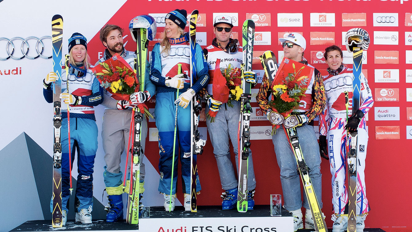 Chris Del Bosco (third from right) and Brady Leman (second from right) take first and third World Cup podium places in Val Thorens, France on December 11, 2015 (Photo: GEPA Pictures for FIS).